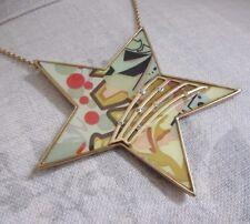 Vintage Danish PILGRIM 1980s GRAFFITI Necklace Star Gold/Pastel Pink Green BNWT