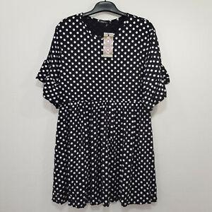 BOOHOO Smock Dress Size 16 Black Polka Dot Stretch Elastic Waist Short Sleeve