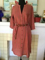 MKT Studio XL Ruben Striped Shirt Dress Cotton Cinnamon Autumn Colors