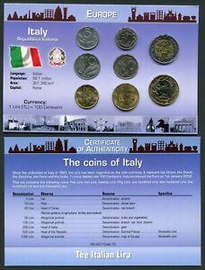 Italy 5 - 1000 lire 1976-1999 UNC Coin Set New World Money Series w/CoA