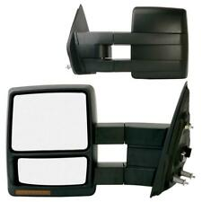 For 07-14 Ford F150 Black Tow Power Heated LED Signal Puddle Lights Side Mirrors