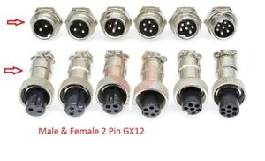 Multi Contact Multi-Pin Connector Socket and Plug Microphone Aviation GX12 2 Pin