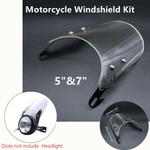 """Motorcycle Transparent Windshield Windscreen Kit for 5""""&7"""" Retro Round Headlight"""