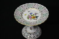 "Scarce Hand Painted DRESDEN Reticulated Pedestal Plate Compote 5""Hx6"" Antique"