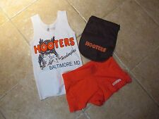 """(3) HOOTERS AUTHENTIC """"3 PIECE SET"""" SERVER TOP (XS) SHORTS, POUCH WORK/COSTUME"""