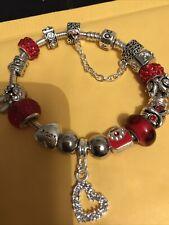 Pandora Bracelet With 16 Charms & Safety Clasp