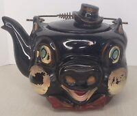 Vintage Pig Teapot Red ware Tilso? Hand painted Hat Handled Lid