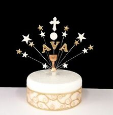 Communion or Christening , chalice and cross personalised cake topper