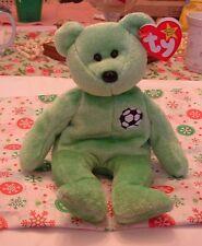 "Original Ty Beanie Babies ""KICKS"" Green Bear w/ Soccer Ball Bean Bag Plush 1998"