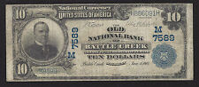 Battle Creek, MI, Charter #7589, $10.00 Series 1902 PlainBack, 20 Notes Reported