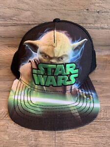 Star Wars Yoda Black Snapback Youth Ball Cap Hat Lucasfilm Mandelorian Force EUc