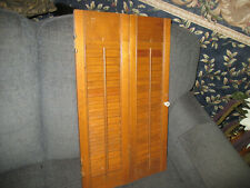 """One Vintage Wooden Louvered Shutter Panel 24"""" x 14 1/4"""" Maple finish Hinged"""