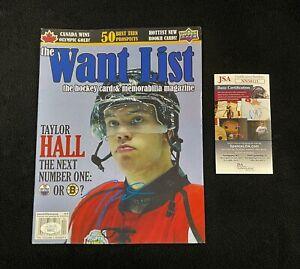 Taylor Hall Signed Windsor Spitfires Want List Magazine JSA COA Boston Bruins