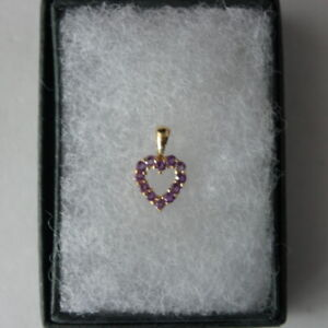 Pretty Small 9Ct. Yellow Gold Heart Pendant With 12 Natural Amethyst Gems In Gif