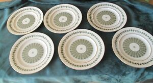 VINTAGE SPODE GREEN PROVENCE Y7843 6 PERFECT 26cm DINNER PLATES