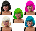 Ladies Wig Bob Style Fancy Dress Pink Blue Green Blonde Wigs Cosplay Costume
