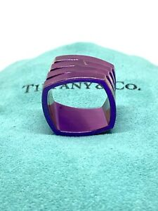 RARE RETIRED Tiffany & Co Frank Gehry Torque Ring Titanium Purple Size 7  12mm