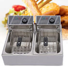 US 12L 5000W Electric Deep Fryer Dual Tank Commercial Restaurant Stainless Steel photo