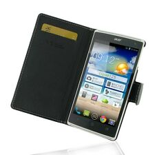 Pdair Leather Book Type Case Carry Cover for Acer Liquid Z5 Duo - Black