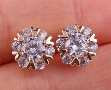 18K Gold Filled - Flower Arrow Rund Topaz Zircon Party Stud Women Earrings Gift