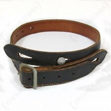 German Army HELMET CHIN STRAP Aged Black Leather - WW2 Repro Field Gear Uniforms