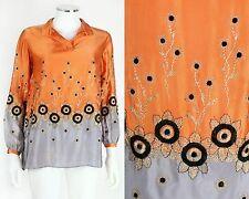 Vtg 1920s Orange & Slate Blue Silk Floral Embroidered Tunic Top Blouse Sz M