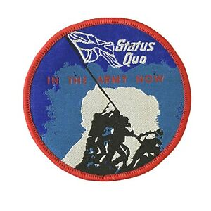 STATUS QUO - In The Army Now - Round Woven Patch Sew On Rare Aufnäher écusson