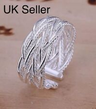 925 Sterling Silver Adjustable Ring Weave Twist Rope Thumb Finger Rings Band UK