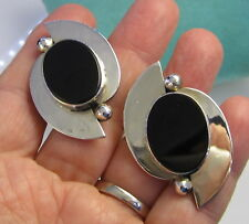 Estate Huge Black Onyx Sterling Silver 28.9 Gram Taxco Mexico Clip On Earrings