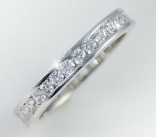 1.5 ct tw Channel Eternity Ring Simulant Imitation Moissanite Sterling Silver 8