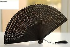 HIGH QUALITY RARE Chinese Japanese Folding Bamboo Pocket Flower Hand Fan Black