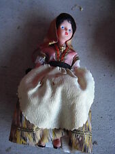 """Vintage Early Plastic Ethnic Girl Character Doll 7 1/2"""" Tall"""