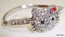 Hello Kitty Rhinestone  Bracelet Bangle Silver Bling Blings Charms Charm New