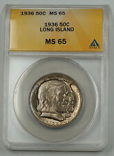 1936 Long Island Silver Half Dollar Commemorative Coin ANACS MS 65 Gem Unc Toned
