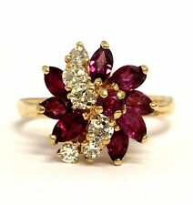 18k yellow gold .36ct SI1 H diamond ruby womens ring 3.2g vintage estate antique