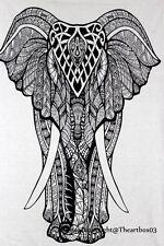 indian Tapestry Elephant Cotton White Throw Wall Hanging Gypsy Boho Dorm Decor