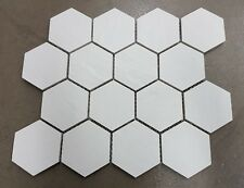 White Hexagon Mosaic Full Body Porcelain Tile 260x300mm sheet