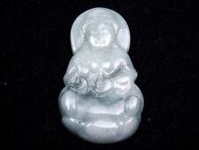 Giadeite Giada Intagliato a Mano Ciondolo Kwan-Yin Buddha Porta Acqua Bottiglia