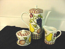 "GEORGES BRIARD ""VINEYARD"" COFFEE POT, CREAMER, & SUGAR BOWL SET, SIGNED RETRO!!"