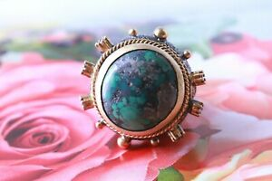 Antiqued Sterling Turkish Ring Turquoise Crystals Gold Accents Sz 8 NEW