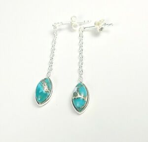 BLUE TURQUOISE GEMSTONE STAMPED 925 STERLING SILVER EARRINGS 0.6g