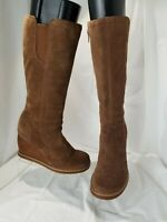 Women's Dr Scholls Summit Brown Suede Knee Hlgh Wedge Boots Size 7 M Brazil