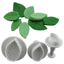 Hot 3 Pcs Cake Xmas Leaf Plunger Fondant Decorating Sugarcraft Mold Cutter FF