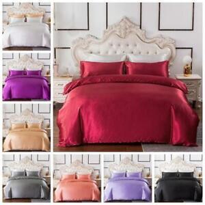 Silk Satin Quilt/Duvet/Doona Cover Set +Pillowcase Single Double Queen King Size