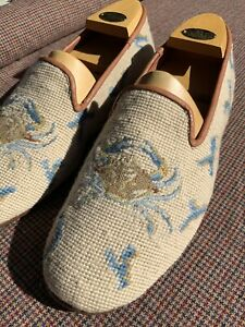 New Sz 13 By Paige Handmade Needlepoint Crab W/ Coral Loafers Ivy Style Prep