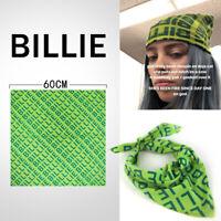 Billie Eilish Bandana Cosplay Costume Green Square Scarf Hip-hop Headbands