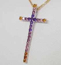 "18K Yellow White Gold Citrine,Tourmaline, Amethyst Cross Pendant / Necklace 18"""