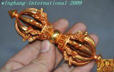 "5""Old Tibetan Buddhism bronze 24k gold Gilt Vajra Dorje Phurpa Exorcism Talisman"