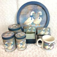 Lot of JSNY Geese Mug Nesting Canisters Tin of Paper Playing Cards Serving Tray