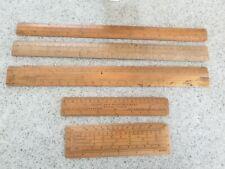 UNUSUAL X5 RULERS  VINTAGE wooden TOOL inc Stanley London
